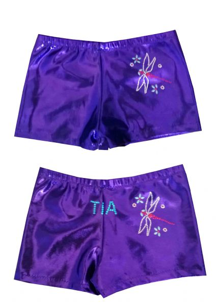 EARL125 Plain and Personalised Metallic and Velour Shorts With Dragonfly Motif  From £18.95